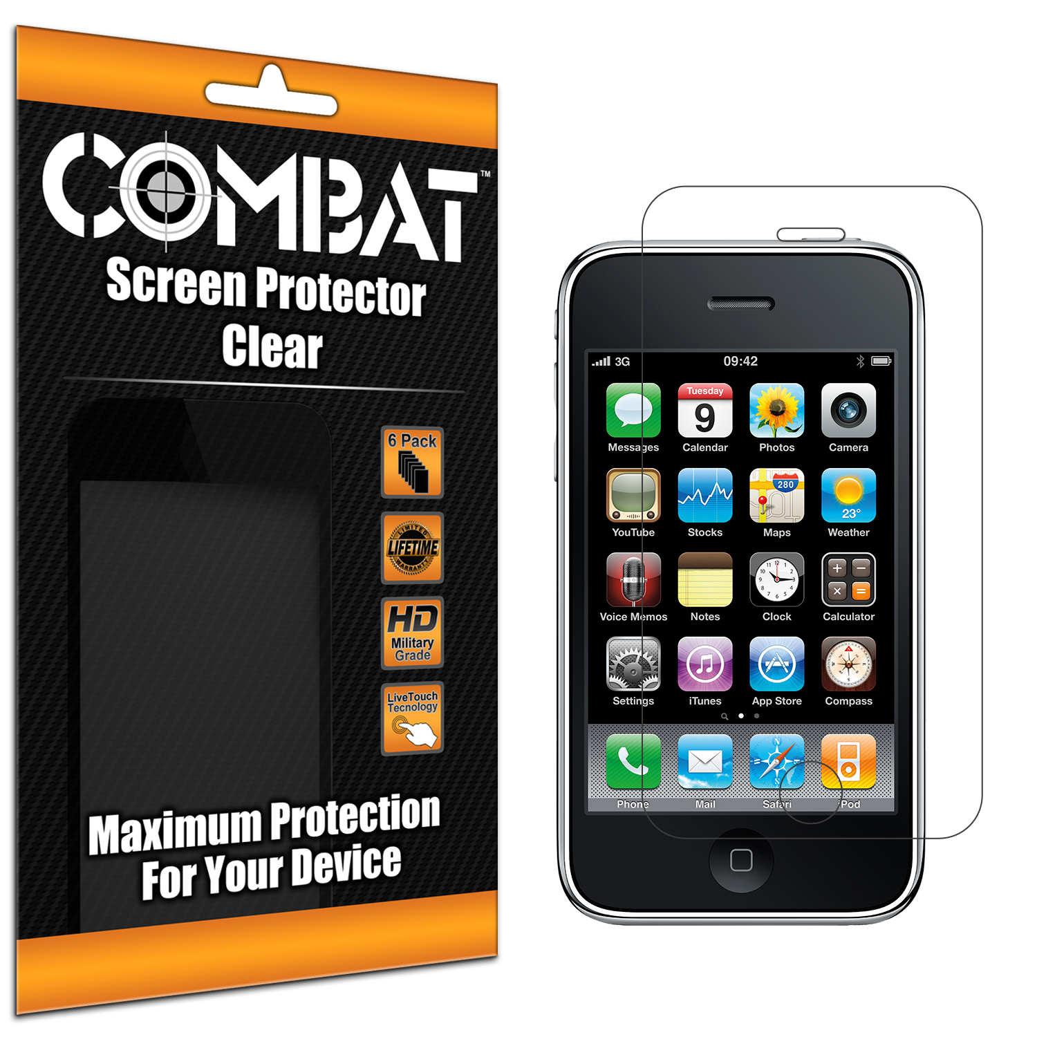 Apple iPhone 3G / 3GS Combat 6 Pack HD Clear Screen Protector