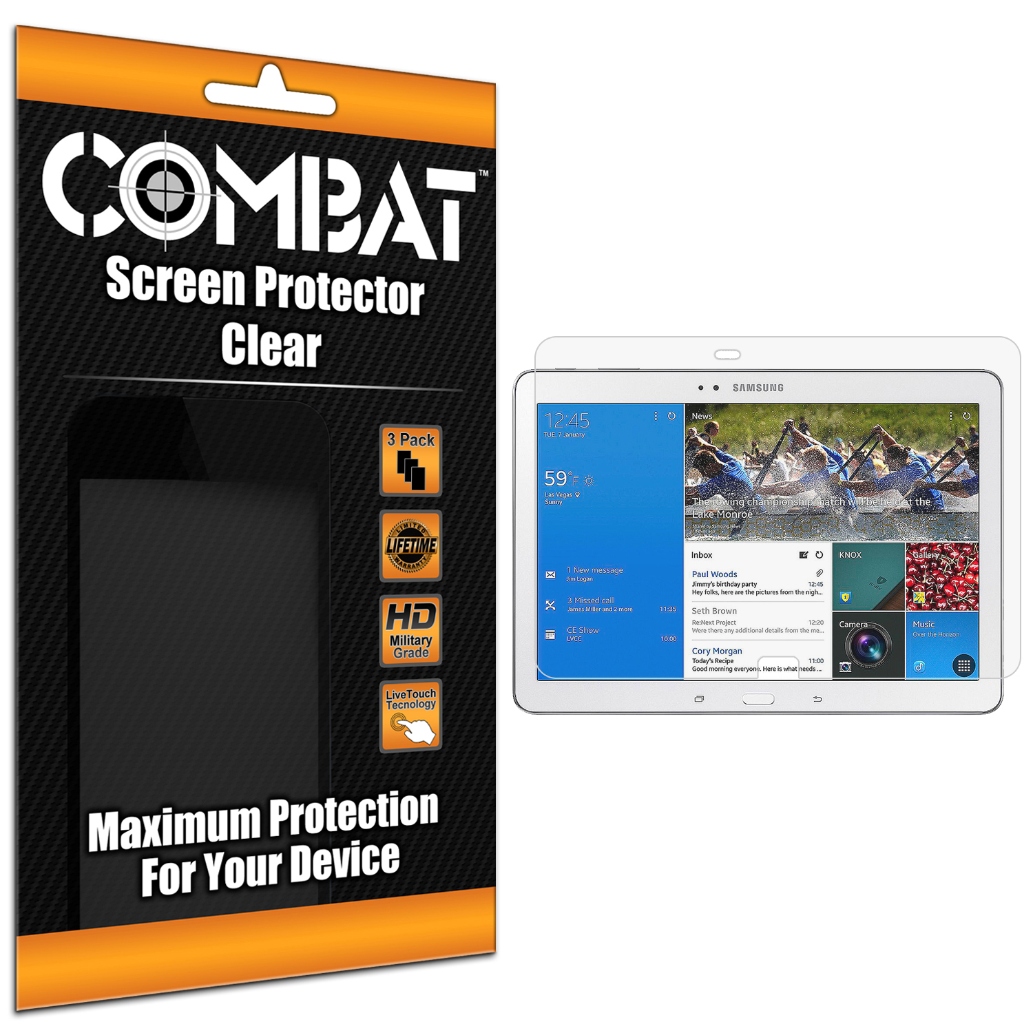 Samsung Galaxy Tab PRO 12.2 Combat 3 Pack HD Clear Screen Protector