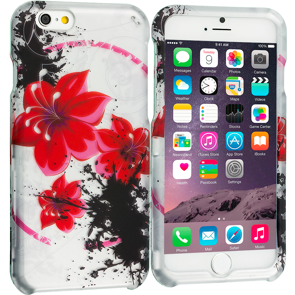 Apple iPhone 6 6S (4.7) Red n Black Flower Chain 2D Hard Rubberized Design Case Cover