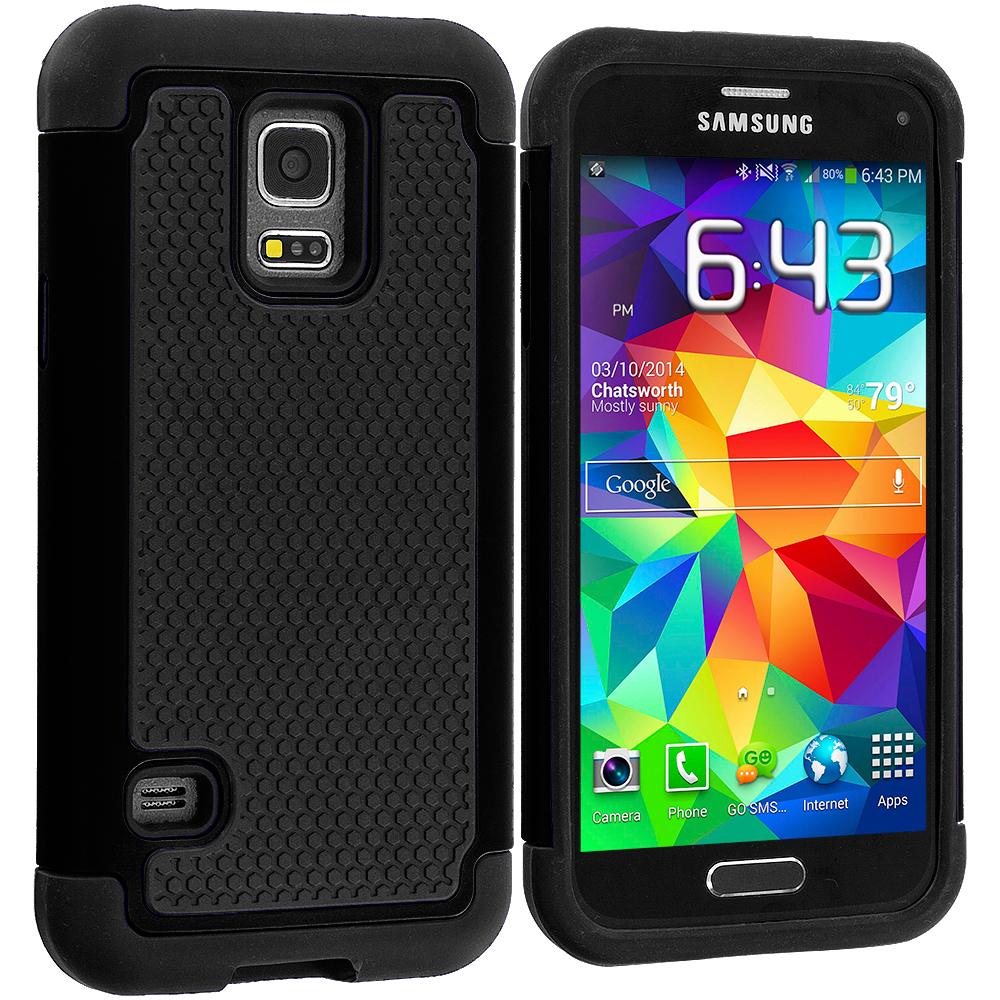 Samsung Galaxy S5 Mini G800 Black / Black Hybrid Rugged Grip Shockproof Case Cover