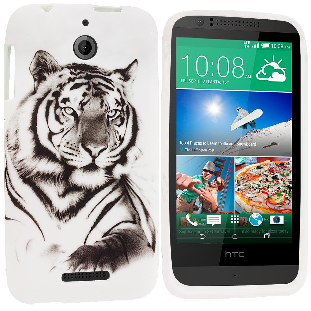 HTC Desire 510 512 White Tiger TPU Design Soft Rubber Case Cover