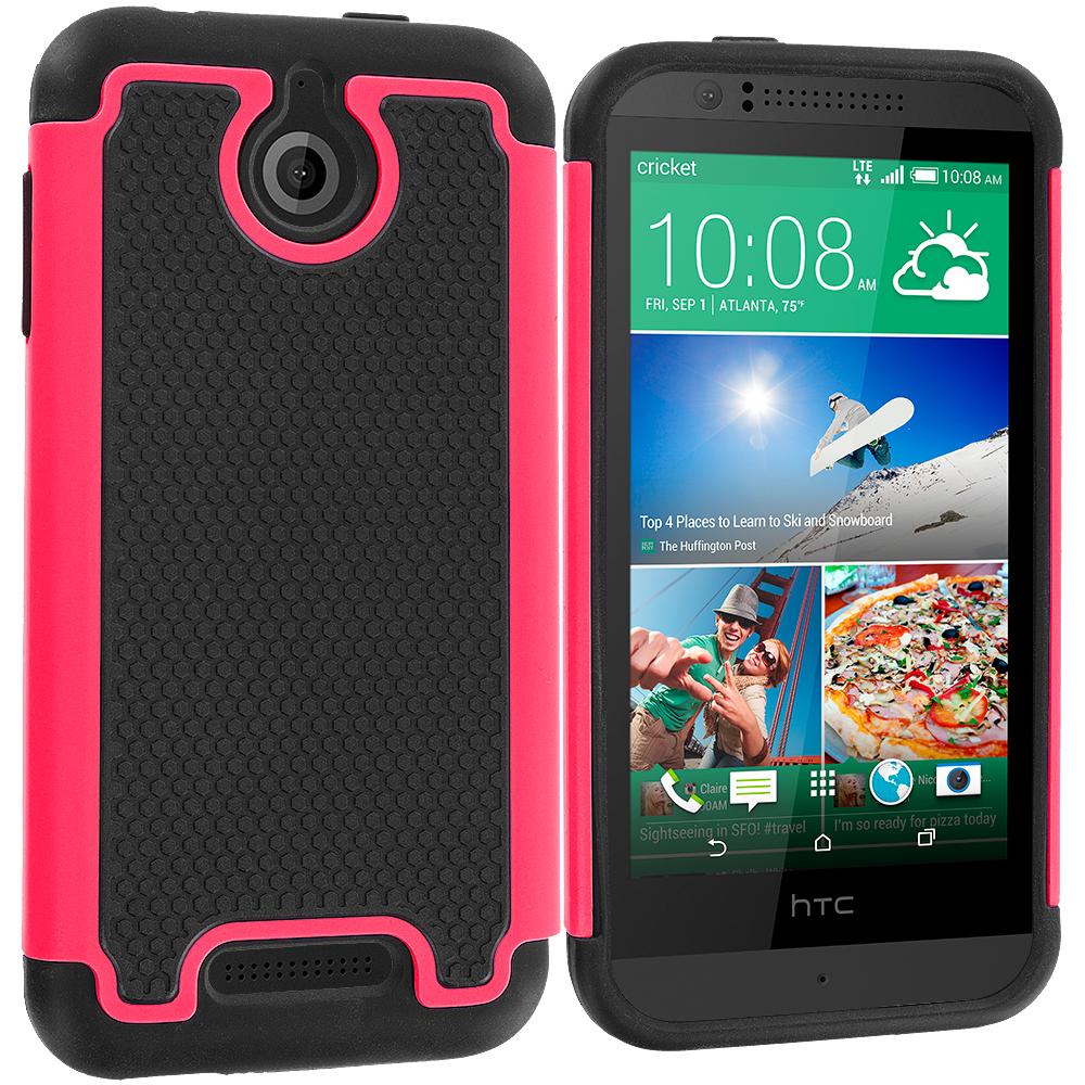 HTC Desire 510 Black / Hot Pink Hybrid Rugged Grip Shockproof Case Cover
