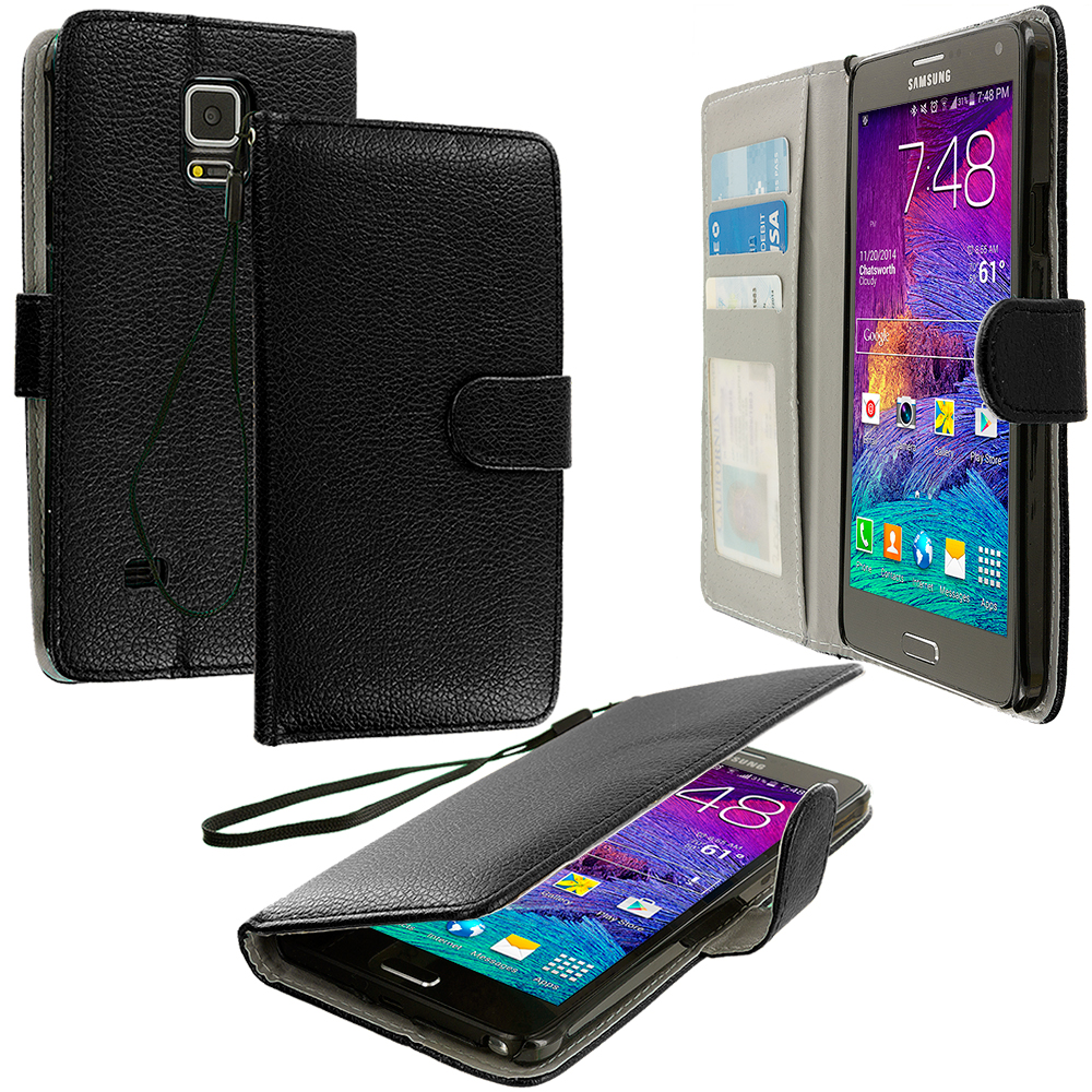 Samsung Galaxy Note 4 2 in 1 Combo Bundle Pack - Black Purple Leather Wallet Pouch Case Cover with Slots : Color Black