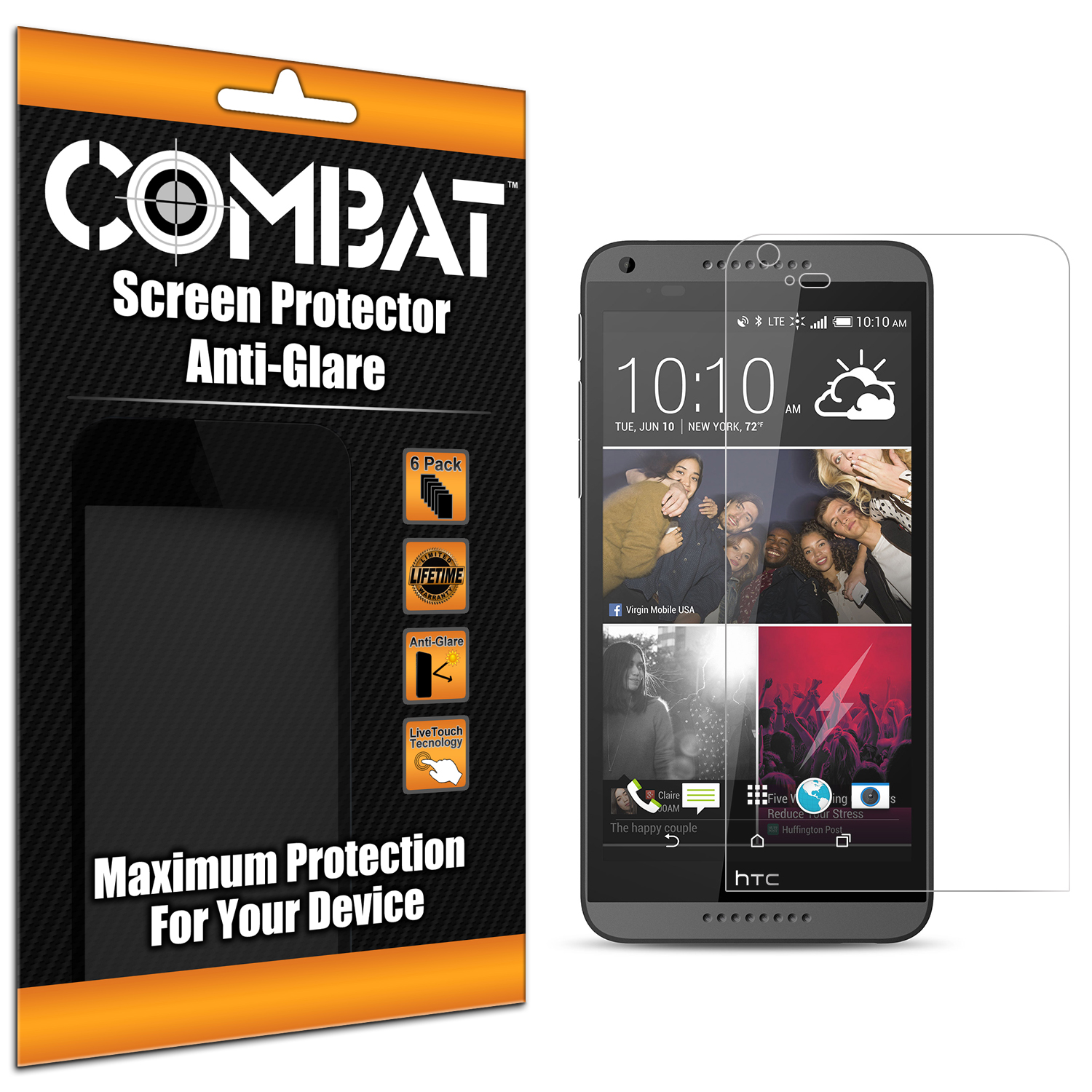 HTC Desire 816 Combat 6 Pack Anti-Glare Matte Screen Protector