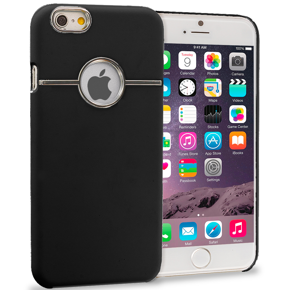 Apple iPhone 6 6S (4.7) Black Deluxe Chrome Hard Rubberized Back Cover Case