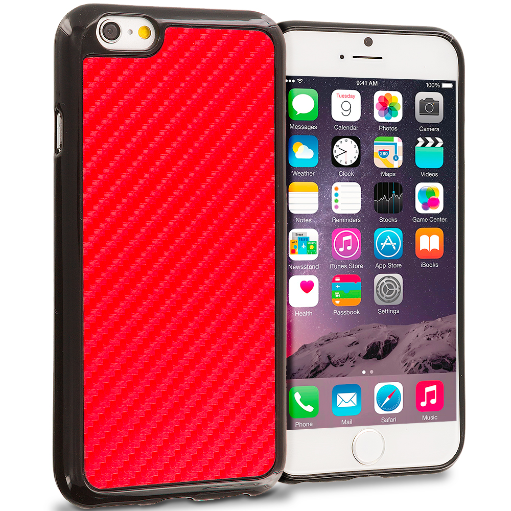 Apple iPhone 6 Plus 6S Plus (5.5) Red Carbon Fiber TPU Design Soft Rubber Case Cover