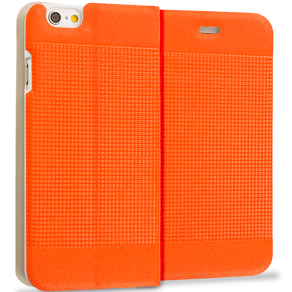 Apple iPhone 6 Plus 6S Plus (5.5) Orange Slim Wallet Flip Design Case Cover