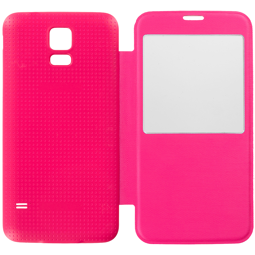 Samsung Galaxy S5 Hot Pink Battery Door Rear Replacement Ultra Slim Wallet Flip Case Cover