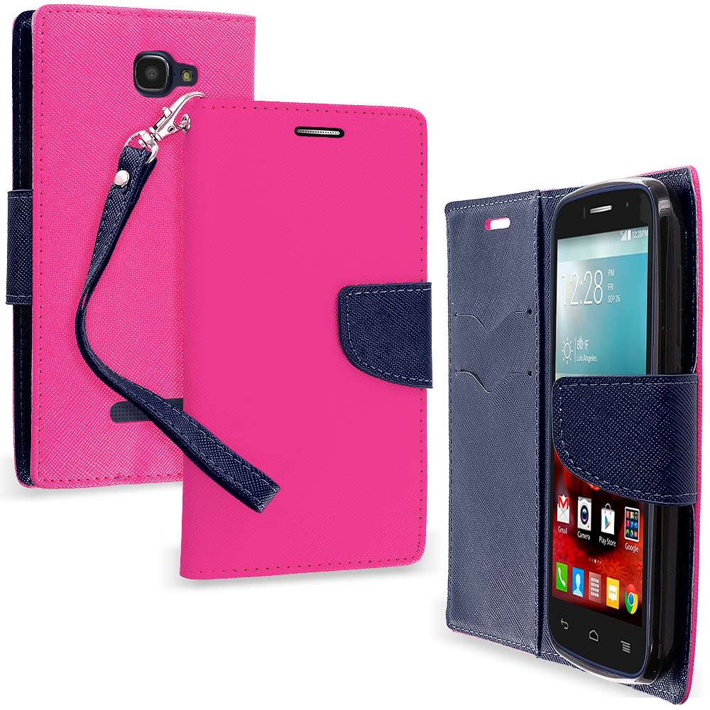 Alcatel One Touch Fierce 2 7040T Hot Pink / Navy Blue Leather Flip Wallet Pouch TPU Case Cover with ID Card Slots