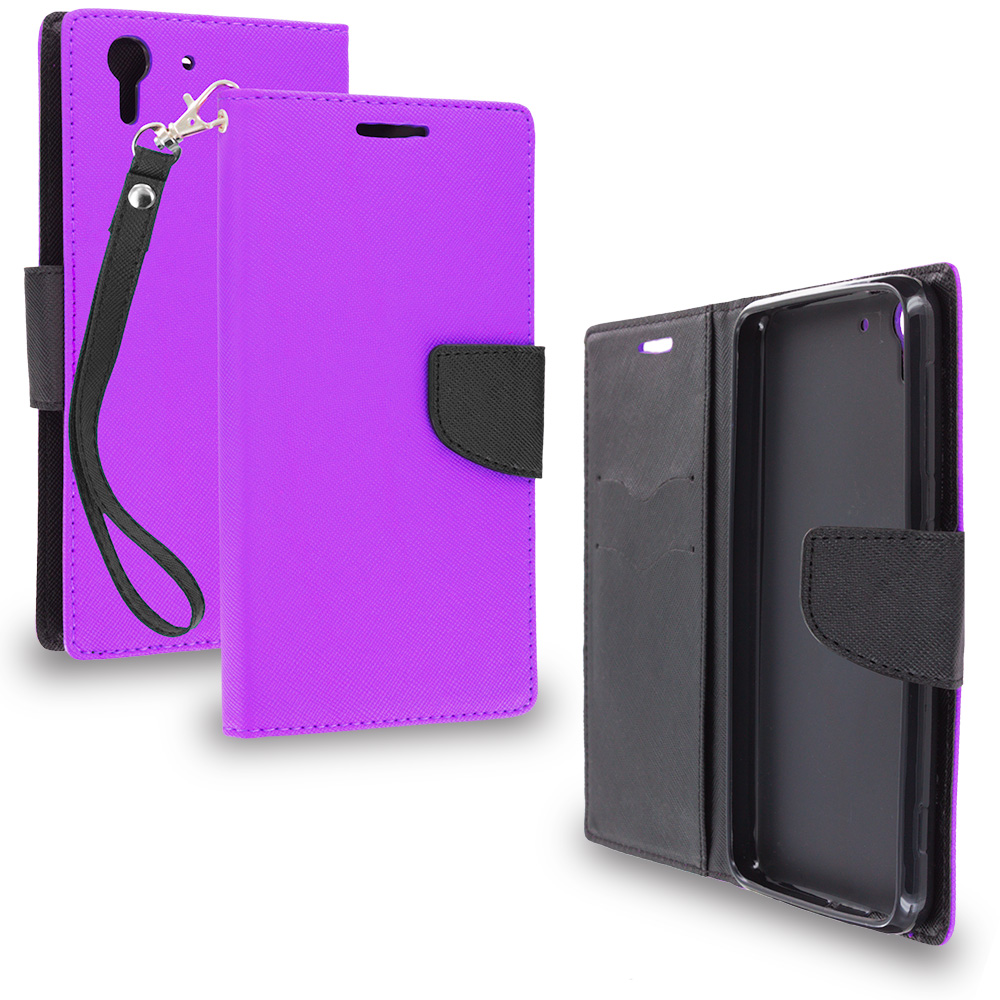 HTC Desire EYE Purple / Black Leather Flip Wallet Pouch TPU Case Cover with ID Card Slots