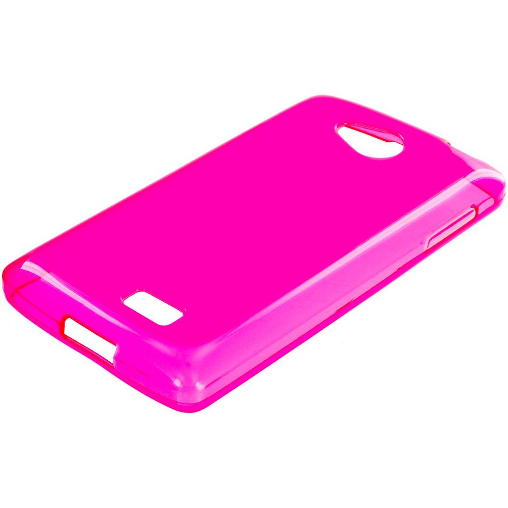 LG Transpyre Tribute F60 Hot Pink TPU Rubber Skin Case Cover