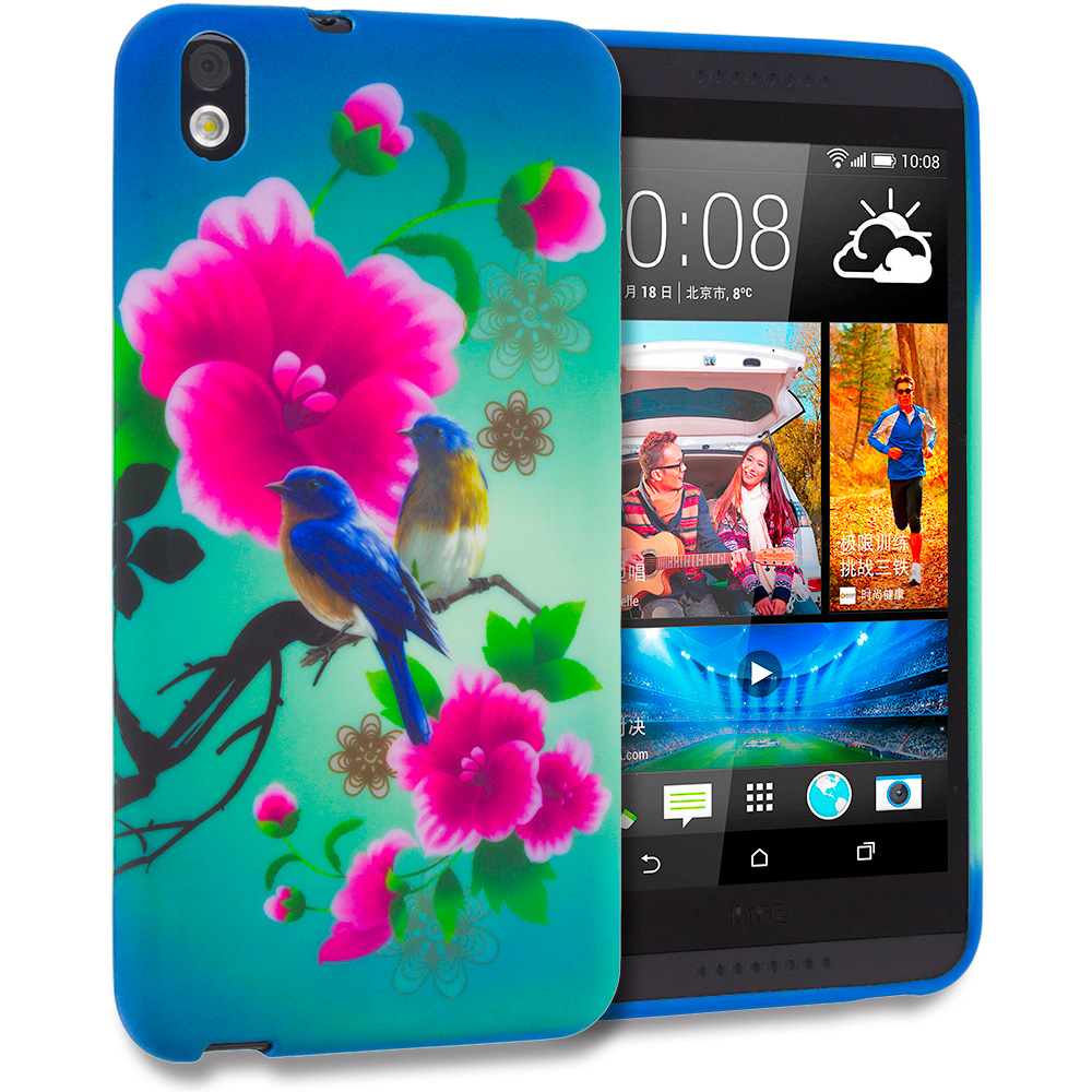 HTC Desire 816 Blue Bird Pink Flower TPU Design Soft Rubber Case Cover