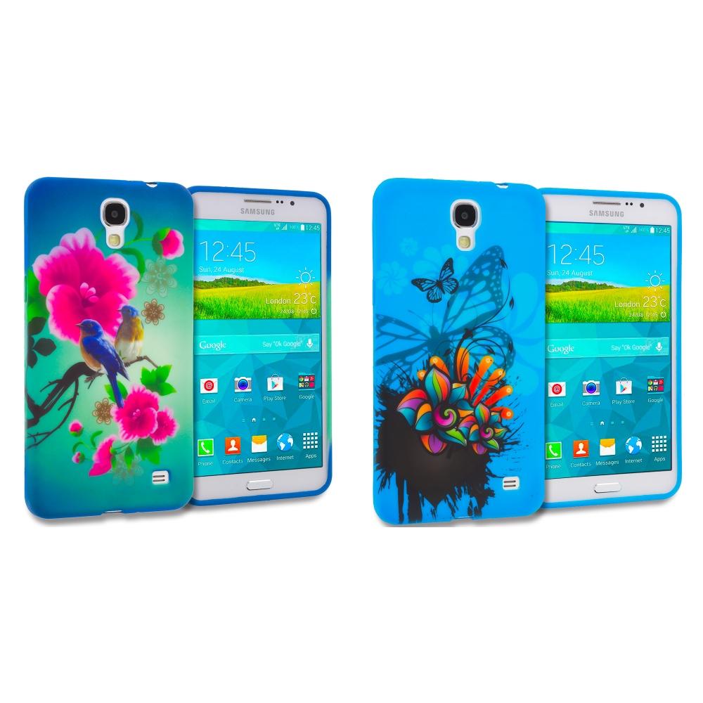 Samsung Galaxy Mega 2 Combo Pack : Blue Bird Pink Flower TPU Design Soft Rubber Case Cover
