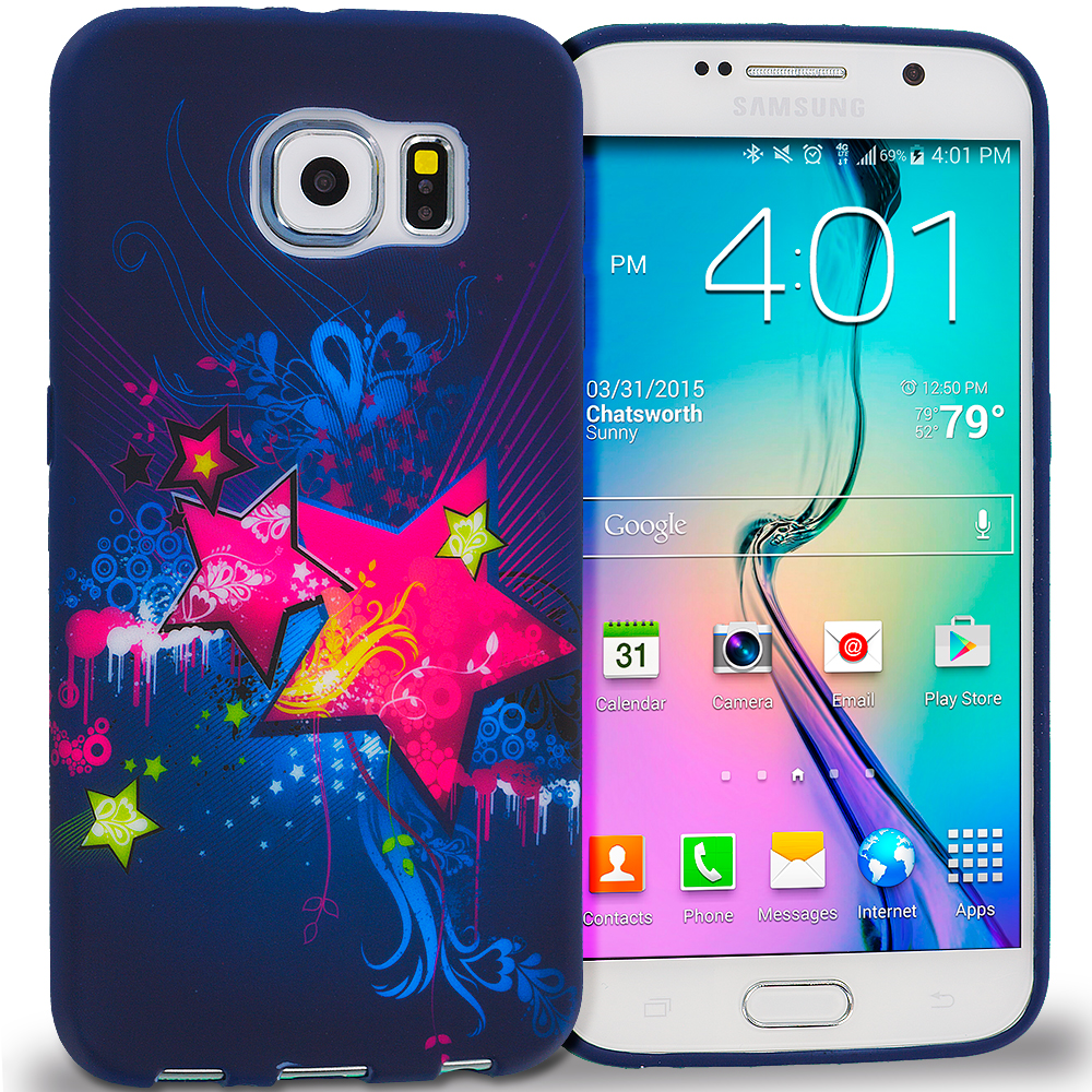 Samsung Galaxy S6 Edge Pink Blue Star TPU Design Soft Rubber Case Cover