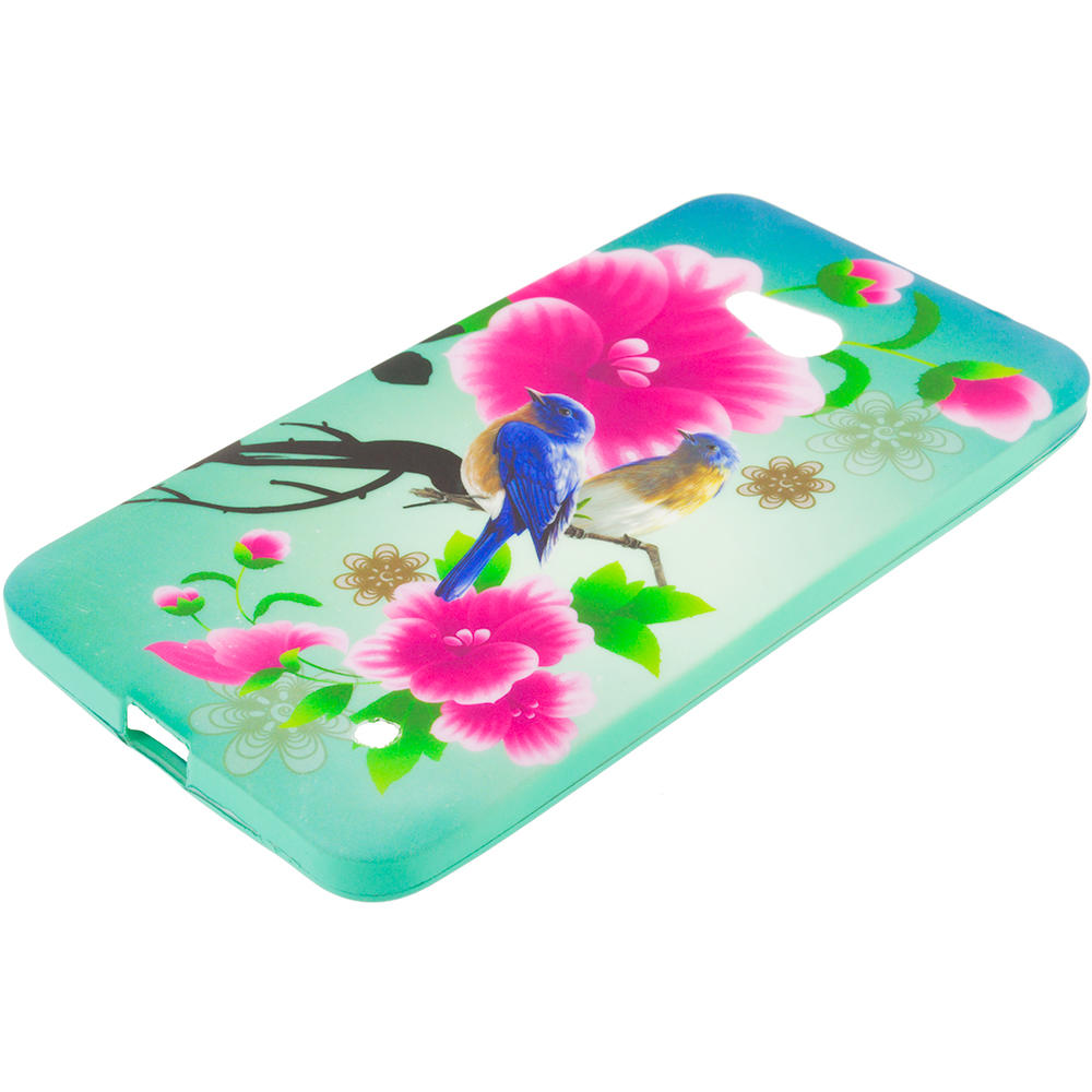 Microsoft Lumia 640 2 in 1 Combo Bundle Pack - TPU Design Soft Rubber Case Cover : Color Blue Bird Pink Flower