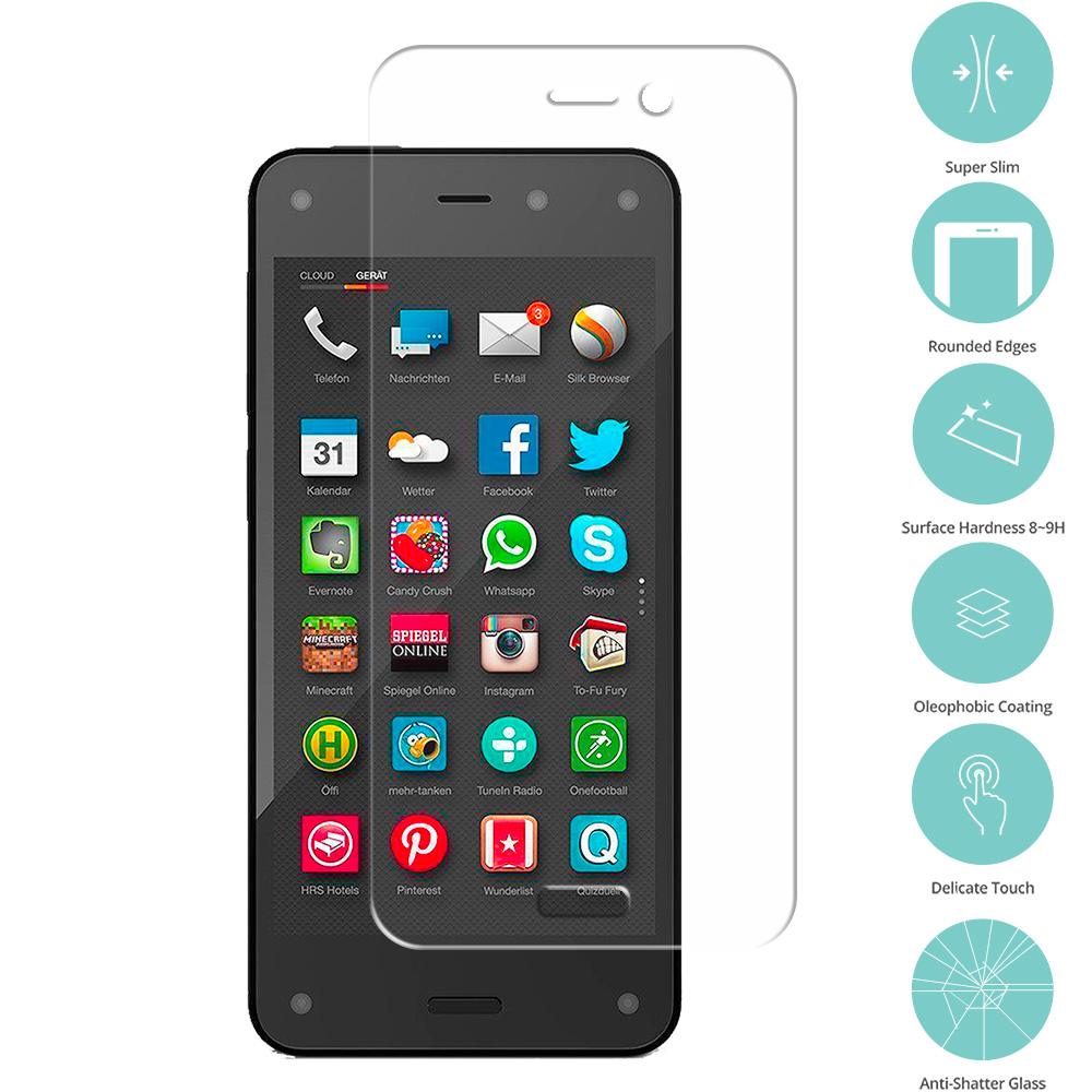 Amazon Fire Phone Clear Tempered Glass Film Screen Protector Clear