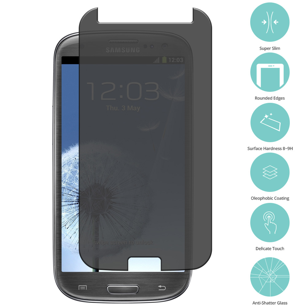 Samsung Galaxy S3 Privacy Tempered Glass Film Screen Protector