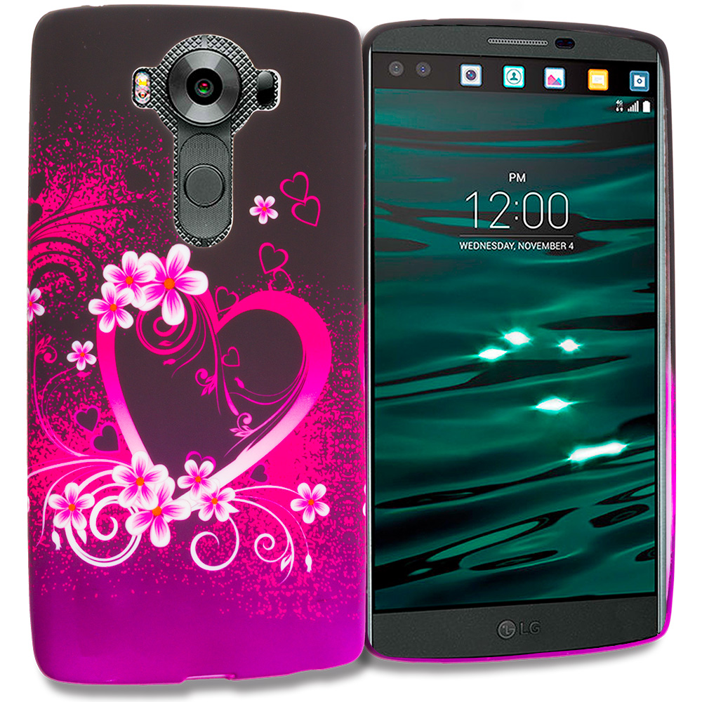 LG V10 Purple Love TPU Design Soft Rubber Case Cover