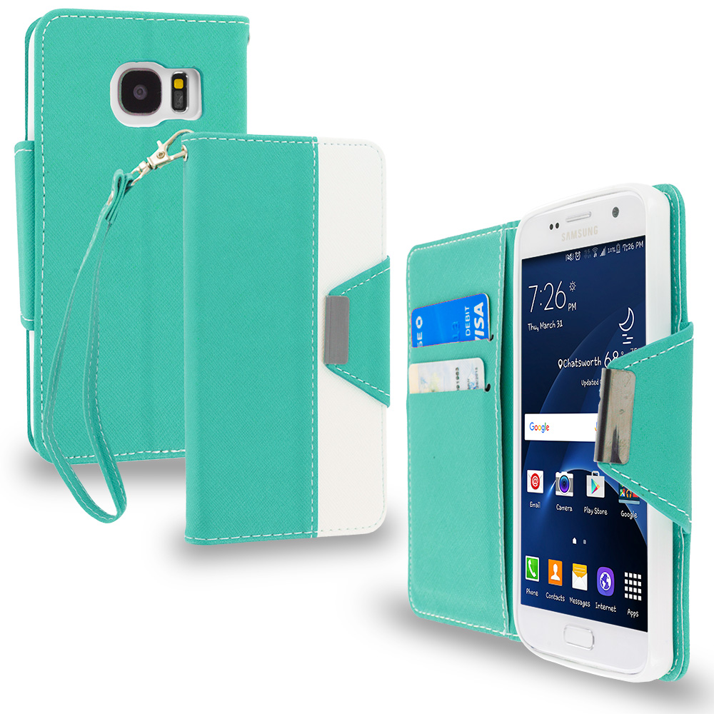 Samsung Galaxy S7 Combo Pack : Black Wallet Magnetic Metal Flap Case Cover With Card Slots : Color Mint Green