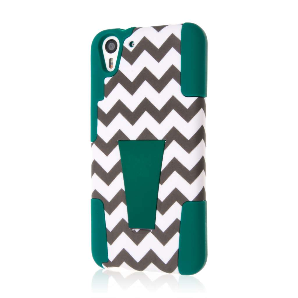 HTC Desire EYE - Teal Chevron MPERO IMPACT X - Kickstand Case Cover