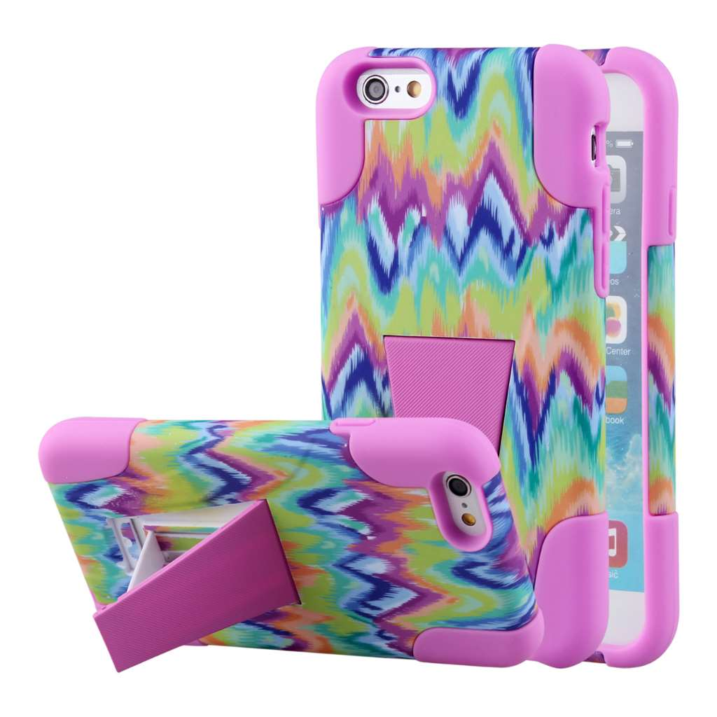 Apple iPhone 6 6S Plus - Pink Tie Dye Chevron MPERO IMPACT X - Stand Case