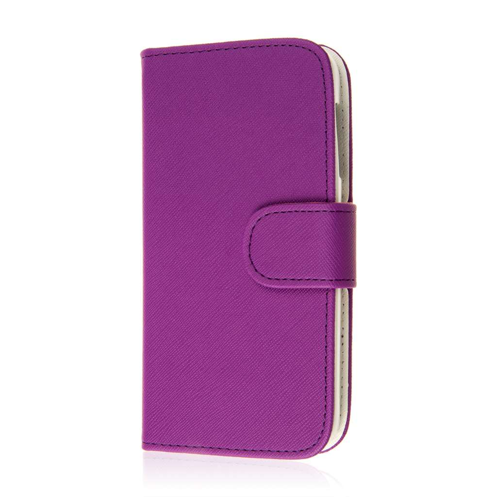 HTC Desire 510 512 - Purple MPERO FLEX FLIP Wallet Case Cover