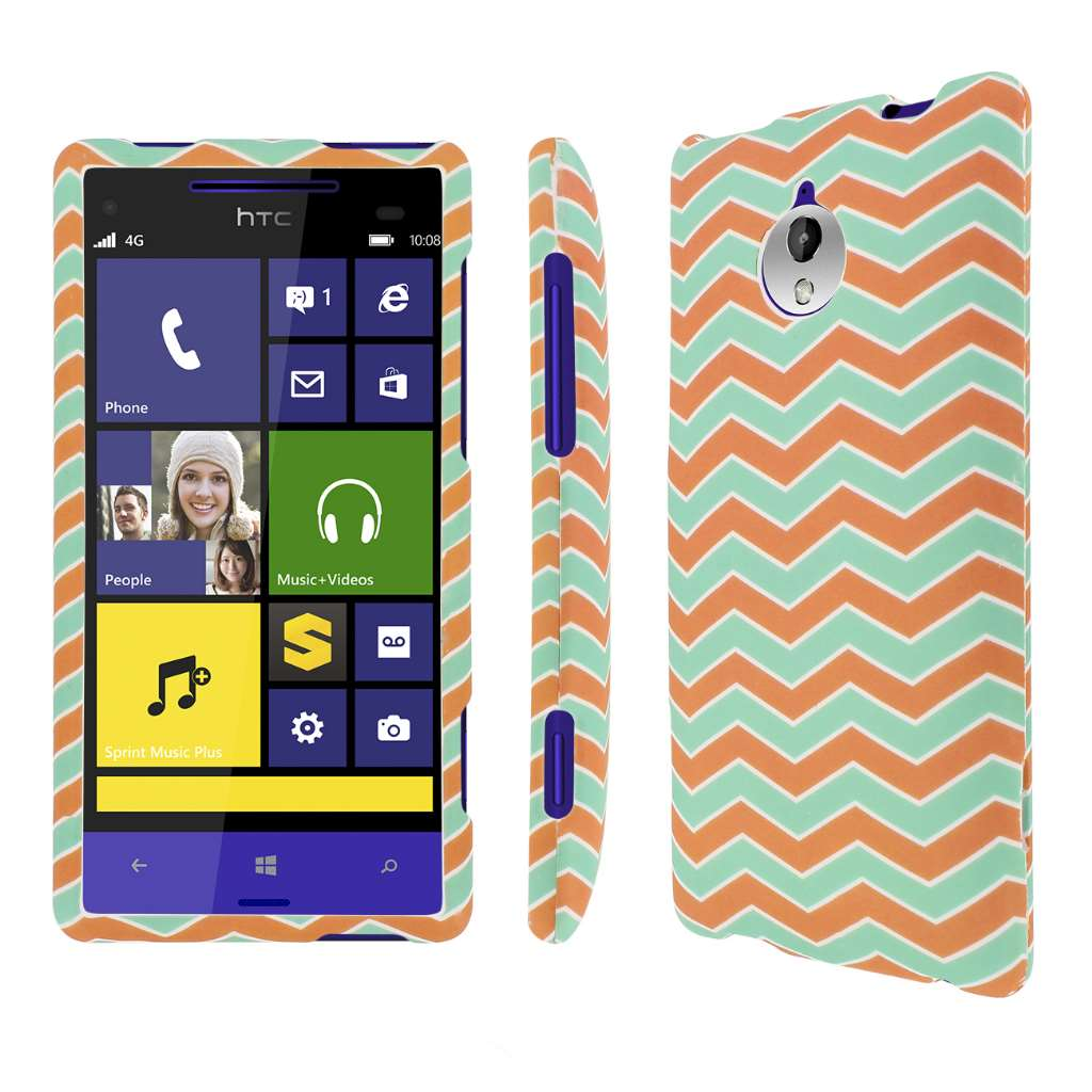 HTC 8XT - Mint Chevron MPERO SNAPZ - Rubberized Case Cover