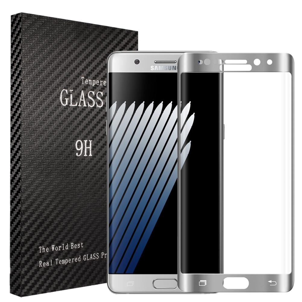 Samsung Galaxy Note 7 Silver Full Curved Tempered Glass Screen Protector