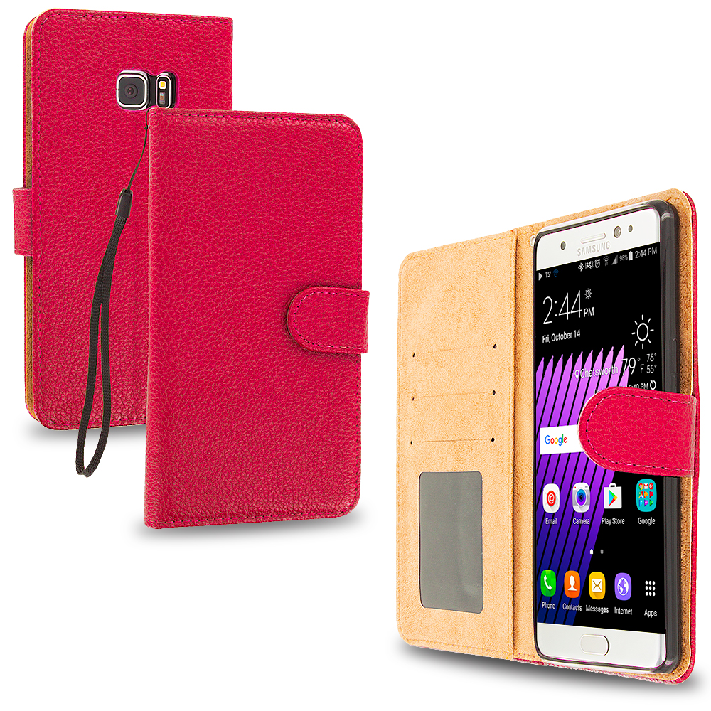 Samsung Galaxy Note 7 Red Leather Wallet Pouch Case Cover with Slots