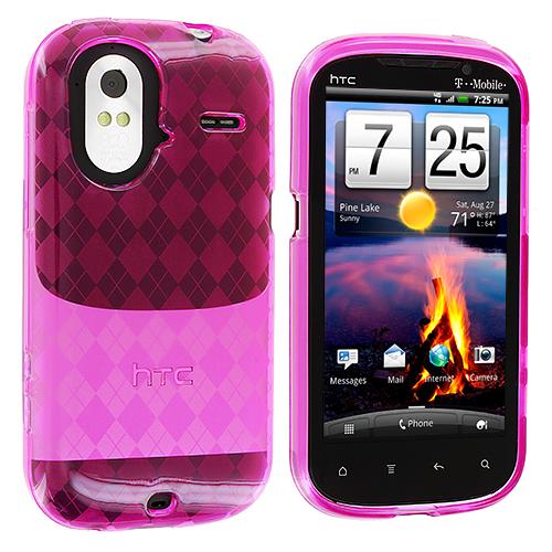 HTC Amaze 4G Hot Pink Checkered TPU Rubber Skin Case Cover