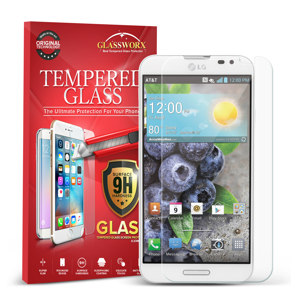 LG Optimus G Pro GlassWorX HD Clear Tempered Glass Screen Protector