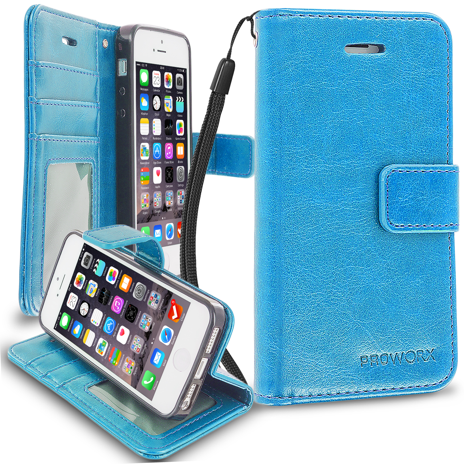 Apple iPhone 5/5S/SE Baby Blue ProWorx Wallet Case Luxury PU Leather Case Cover With Card Slots & Stand