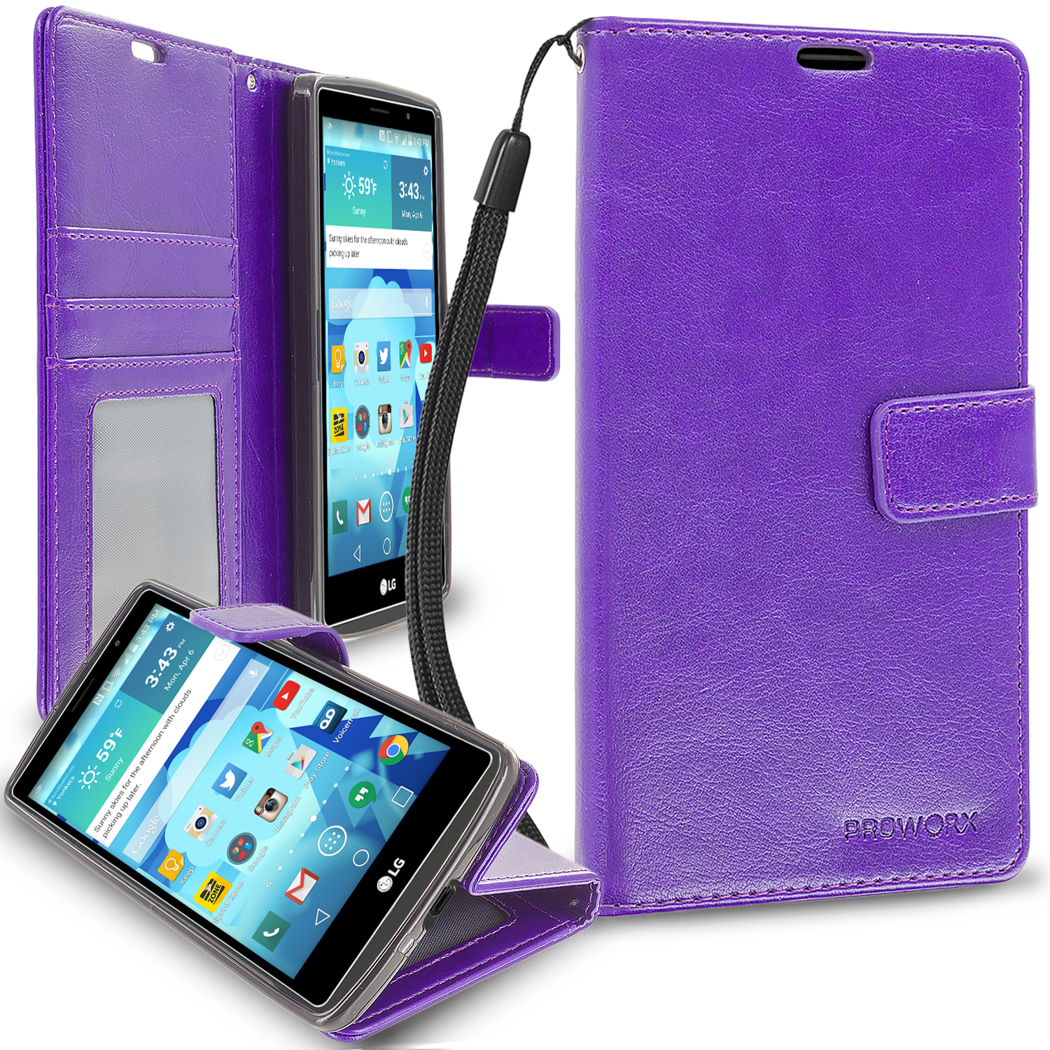 LG G Vista 2 Purple ProWorx Wallet Case Luxury PU Leather Case Cover With Card Slots & Stand