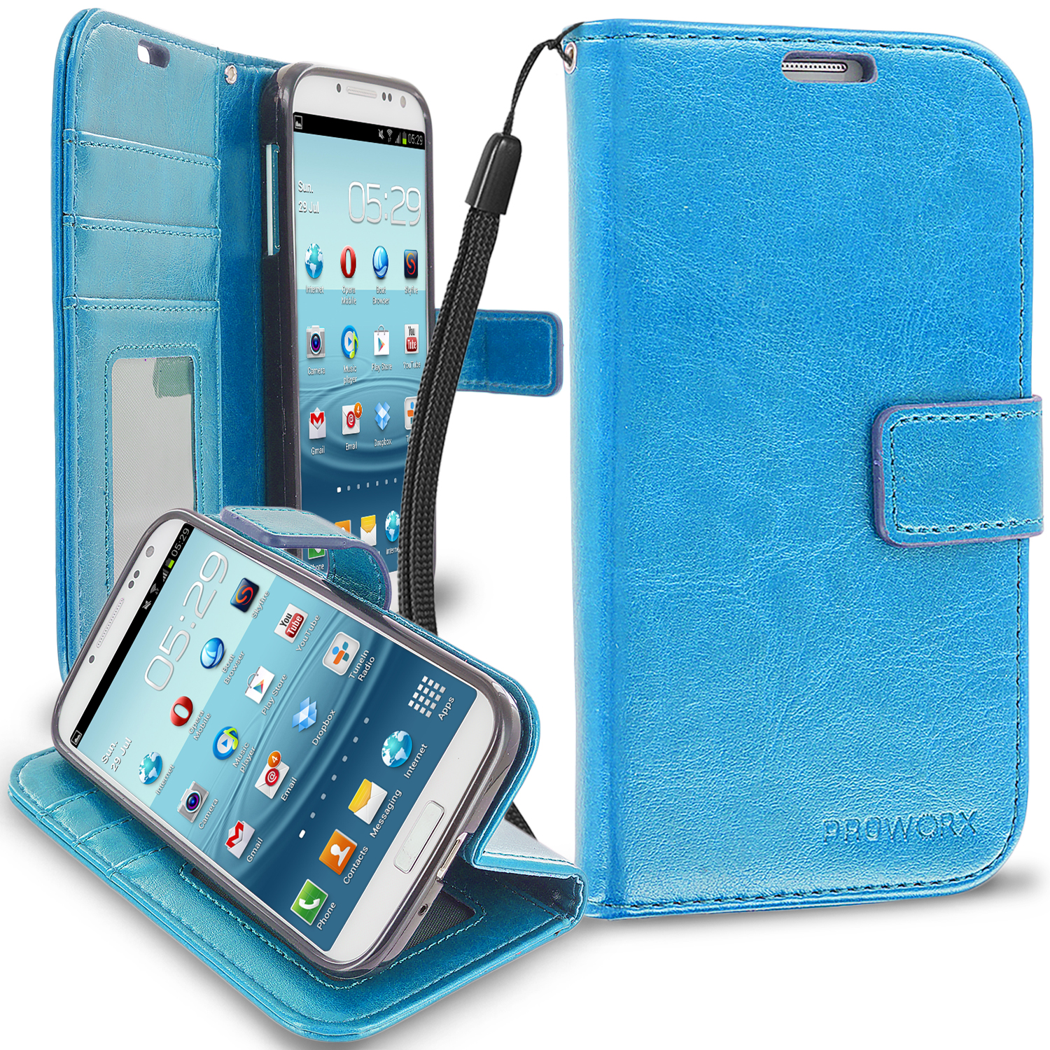 Samsung Galaxy S4 Baby Blue ProWorx Wallet Case Luxury PU Leather Case Cover With Card Slots & Stand