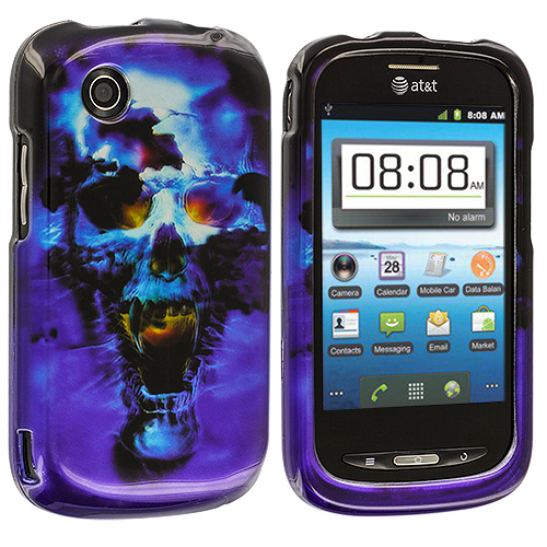 ZTE Avail Z990 Blue Skulls Design Crystal Hard Case Cover