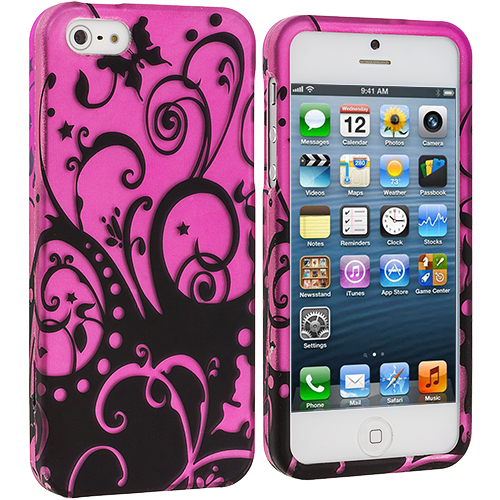 Apple iPhone 5/5S/SE Black Swirls Hard Rubberized Design Case Cover