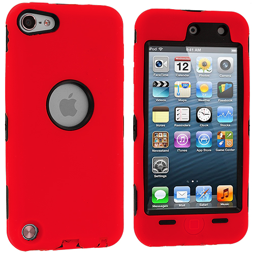 Apple iPod Touch 5th 6th Generation Red Deluxe Hybrid Deluxe Hard/Soft Case Cover