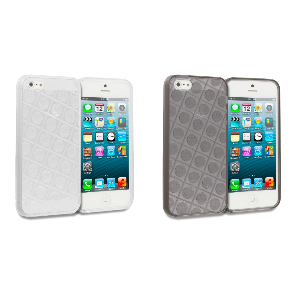 Apple iPhone 5/5S/SE Combo Pack : Clear Happy Face TPU Rubber Skin Case Cover