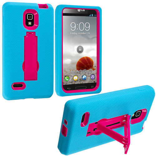 LG Optimus L9 P769 T-Mobile Baby Blue / Hot Pink Hybrid Heavy Duty Hard/Soft Case Cover with Stand