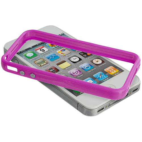 Apple iPhone 4 / 4S 2 in 1 Combo Bundle Pack - Solid Purple Pink TPU Bumper with Metal Buttons : Color Solid Purple