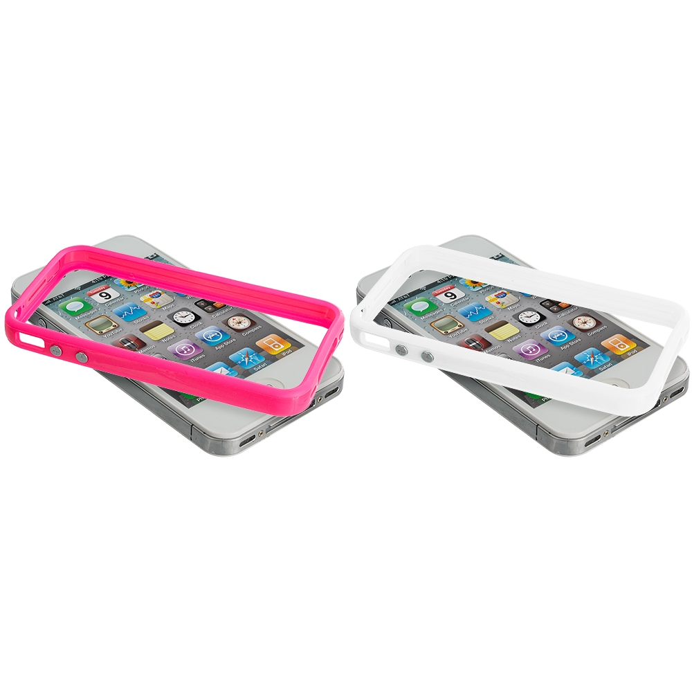 Apple iPhone 4 / 4S 2 in 1 Combo Bundle Pack - Solid White Pink TPU Bumper with Metal Buttons