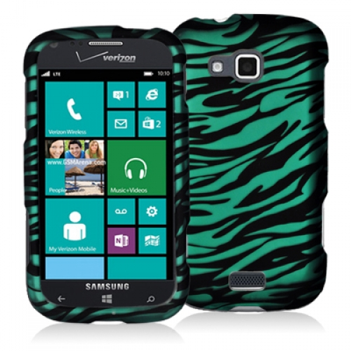 Samsung ATIV Odyssey Black / Baby Blue Zebra Hard Rubberized Design Case Cover