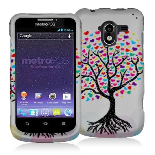 ZTE Avid 4G N9120 Love Tree on White Hard Rubberized Design Case Cover