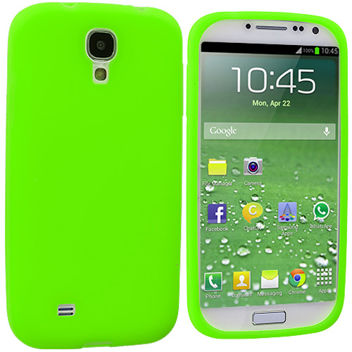 Samsung Galaxy S4 2 in 1 Combo Bundle Pack - White Green Silicone Soft Skin Case Cover : Color Neon Green