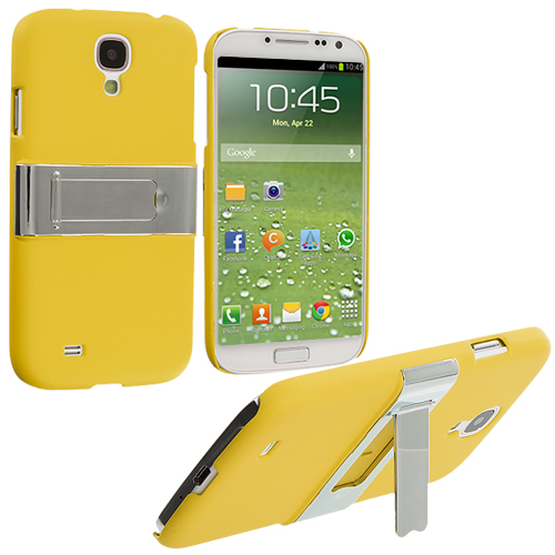 Samsung Galaxy S4 Yellow Hard Rubberized Chrome Stand Case Cover