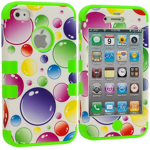 Apple iPhone 4 / 4S Green / Bubbles Hybrid Tuff Hard/Soft 3-Piece Case Cover
