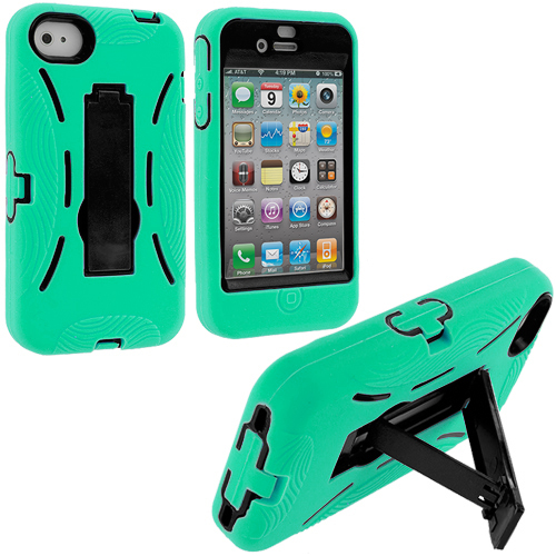 Apple iPhone 4 / 4S Mint Green / Black Hybrid Heavy Duty Hard/Soft Case Cover with Stand