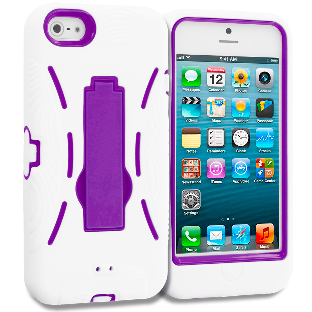 Apple iPhone 5 White / Purple Hybrid Heavy Duty Hard/Soft Case Cover with Stand