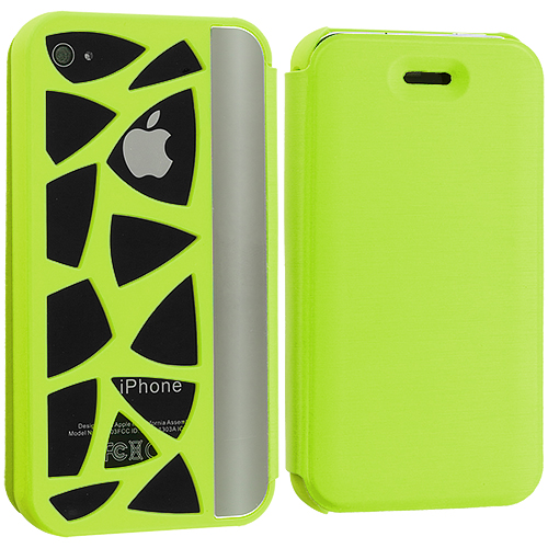 Apple iPhone 4 / 4S 2 in 1 Combo Bundle Pack - Neon Green White Carved Out Wallet Case Cover Pouch : Color Neon Green Carved Out