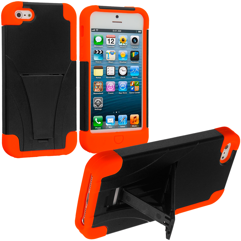 Apple iPhone 5/5S/SE Black / Orange Hybrid Hard/Silicone Case Cover with Stand